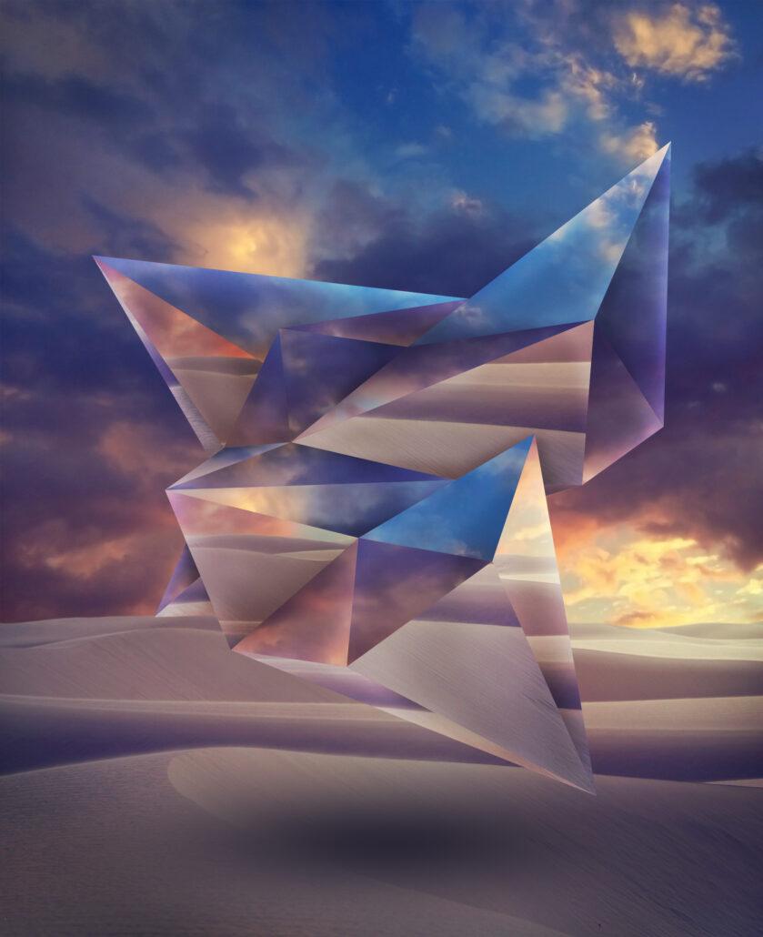 Reflective shape in landscape